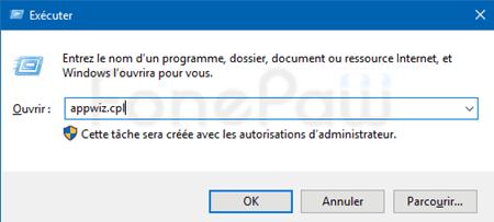 exécuter appwiz.cpl sur windows