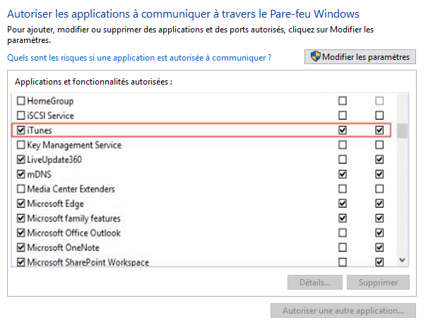 autoriser iTunes à communiquer via le Pare-feu Windows