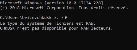 CHKDSK n'est pas disponible pour les lecteurs RAW