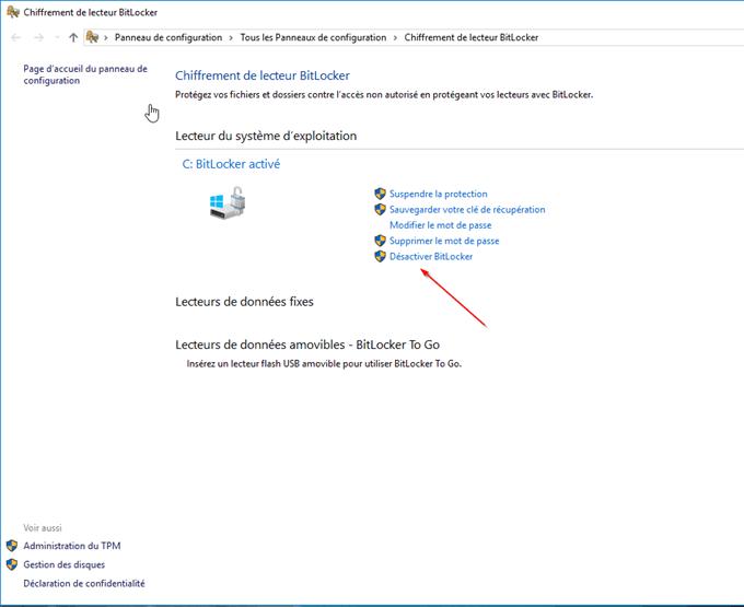 Décrypter un disque dur via le Panneau de Configuration