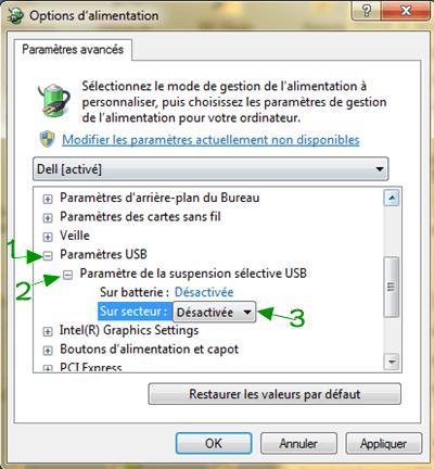 désactivez le « Paramètre de la suspension sélective USB » sur Windows
