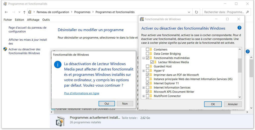 Désactiver Windows Media Player