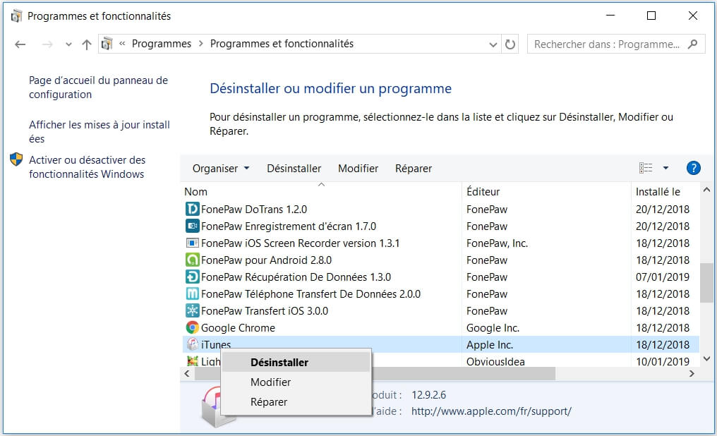 Réparer iTunes sur Windows