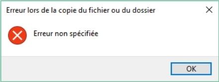 Erreur de copie de fichier à PC