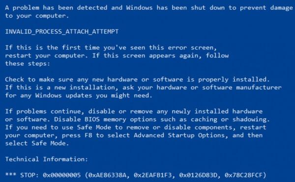 Erreur d'écran bleu