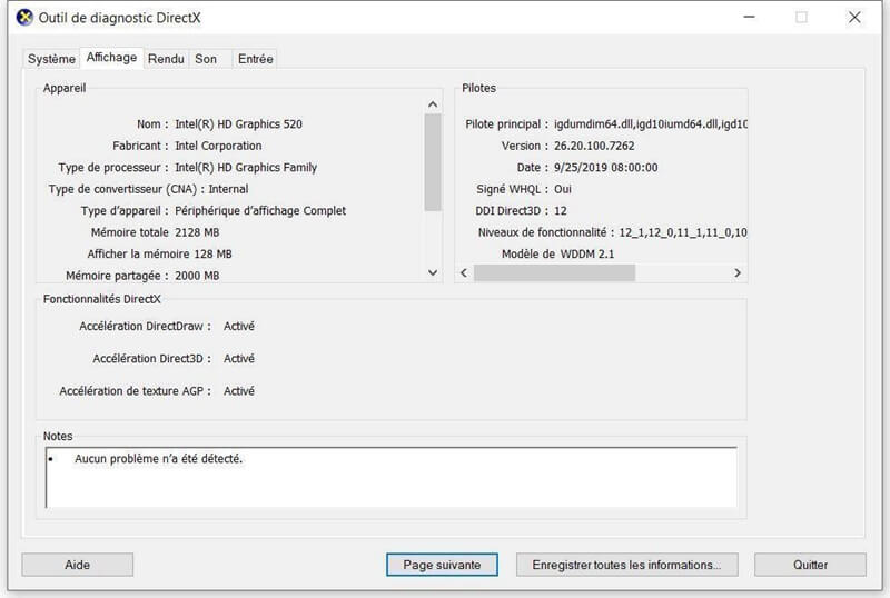 fenêtre de l'Outil de diagnostic DirectX