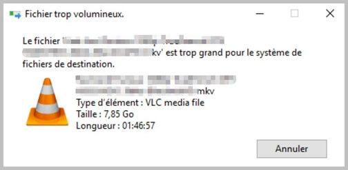 Le fichier est trop grand pour le système de fichiers de destination