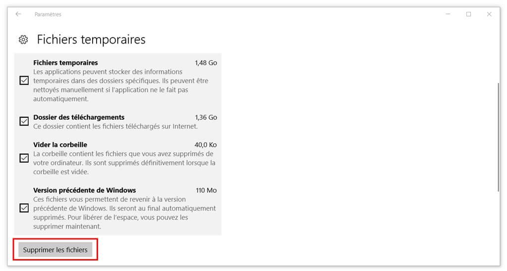 nettoyer l'espace de disque sur Windows 10
