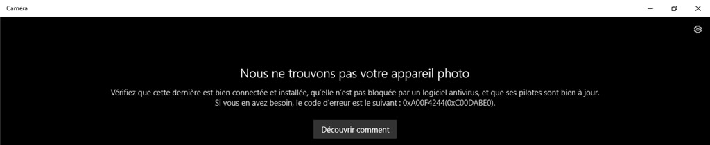 Impossible de trouver l'appareil photo sur Windows