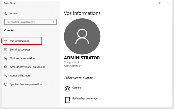 Informations du compte Windows