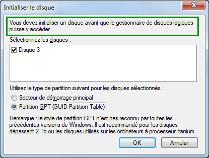 Vous devez initialiser un disque avant que le gestionnaire de disques logiques puisse y accéder.