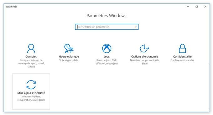 Entrer dans Mise à jour et sécurité de Windows 10