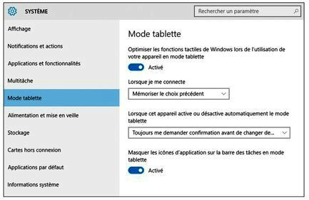 Désactiver le mode tablette sur Windows 10