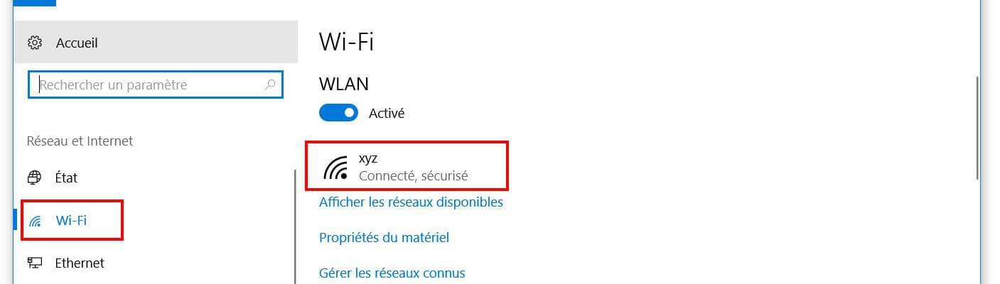 le nom de votre connexion Wi-Fi