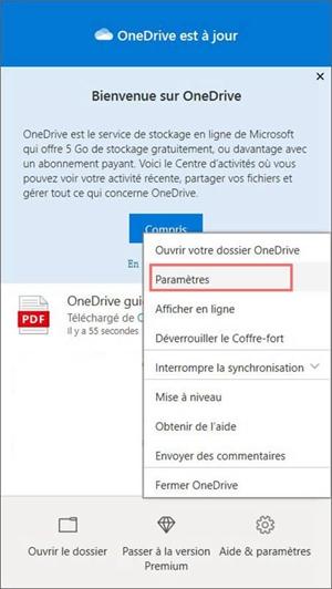 Paramètres sur OneDrive