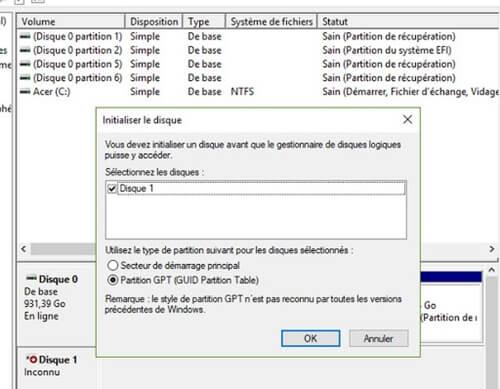 choisir style de partition GPT