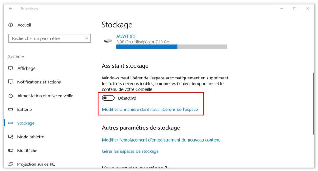 personnaliser la manière de libérer de l'espace sur Windows 10