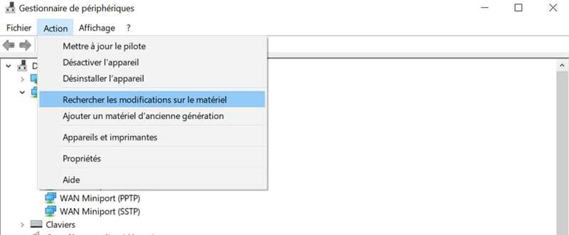 Rechercher les modifications sur le matériel sur Windows