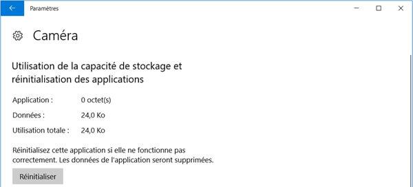 Réinitialiser l'application de caméra sur Windows 10