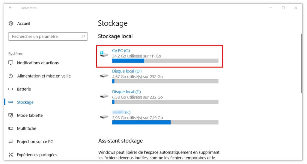 Stockage sur Windows 10