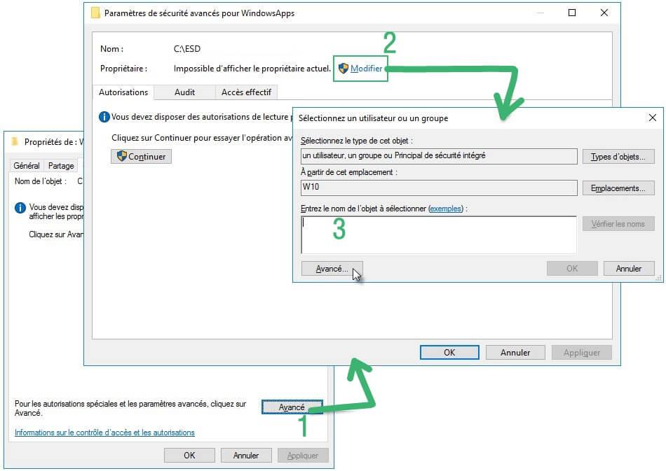 windows 10 accès à dossier fichier refusé