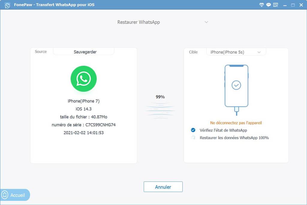 restaurer des données WhatsApp