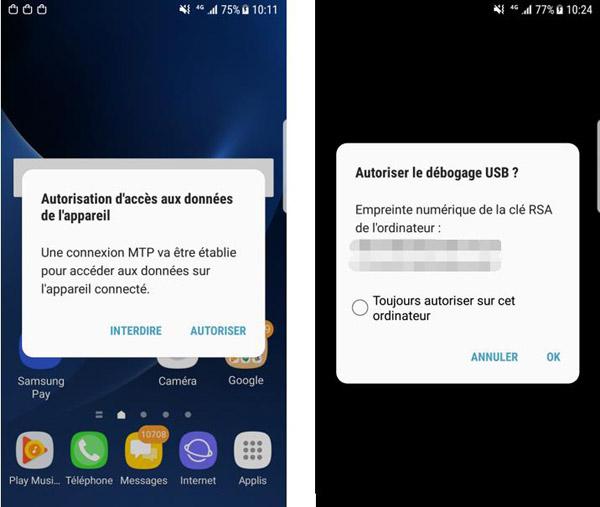 Transferts de fichiers entre Android